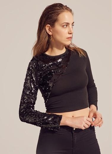 Monamoda Kolu Payetli Bluz Siyah